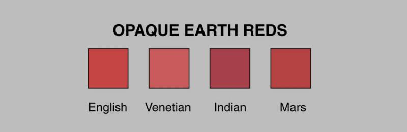 Opaque mars red (red oxide) is made in shades that approximate English ...